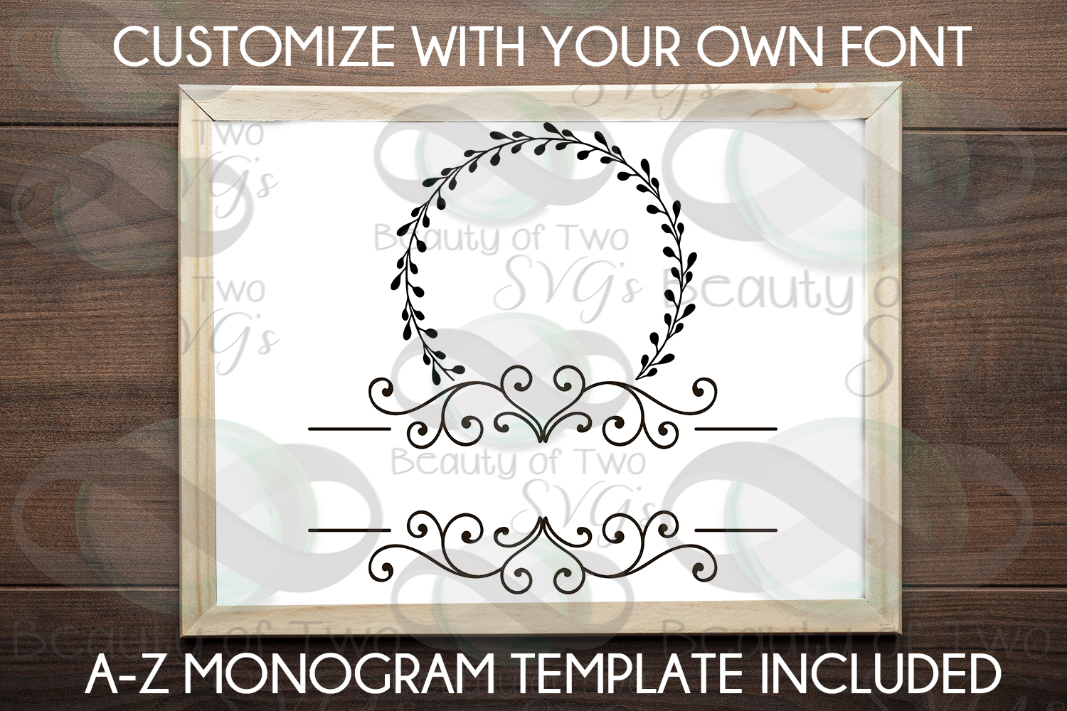 Last Name Monogram initial wreath svg, a-z monogram included example image 3