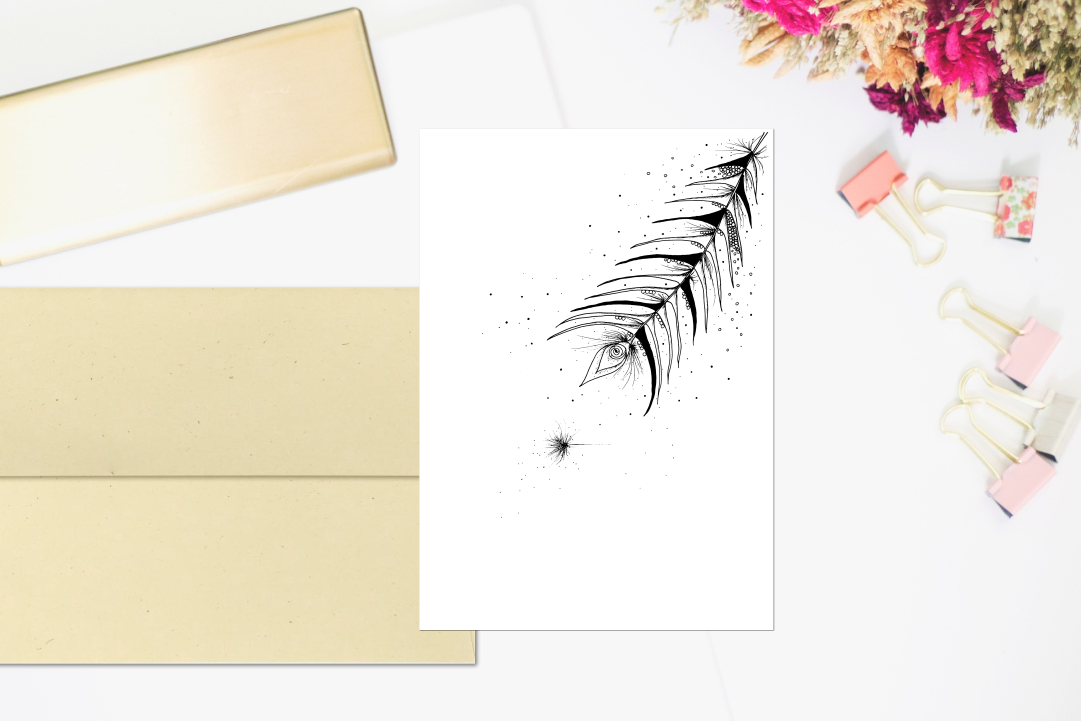 Tribal Feather Floral Ink Art, A1, SVG example image 2