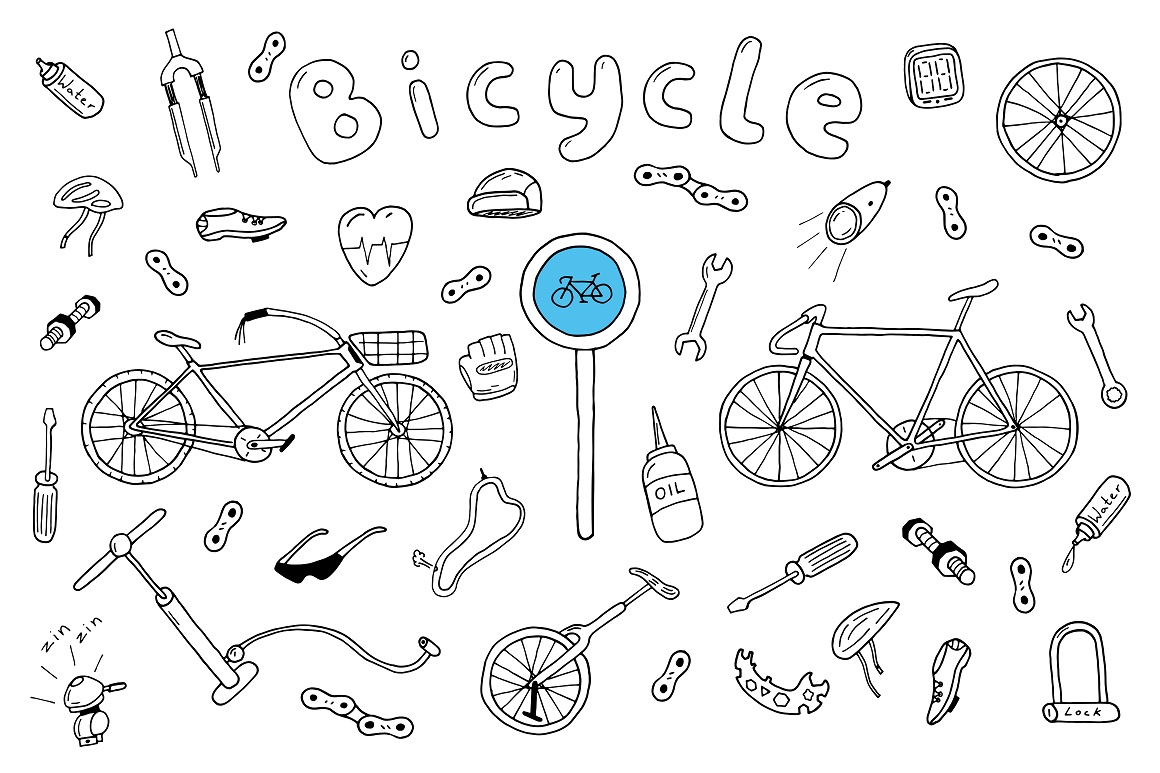 Bicycle collection in doodle style example image 1