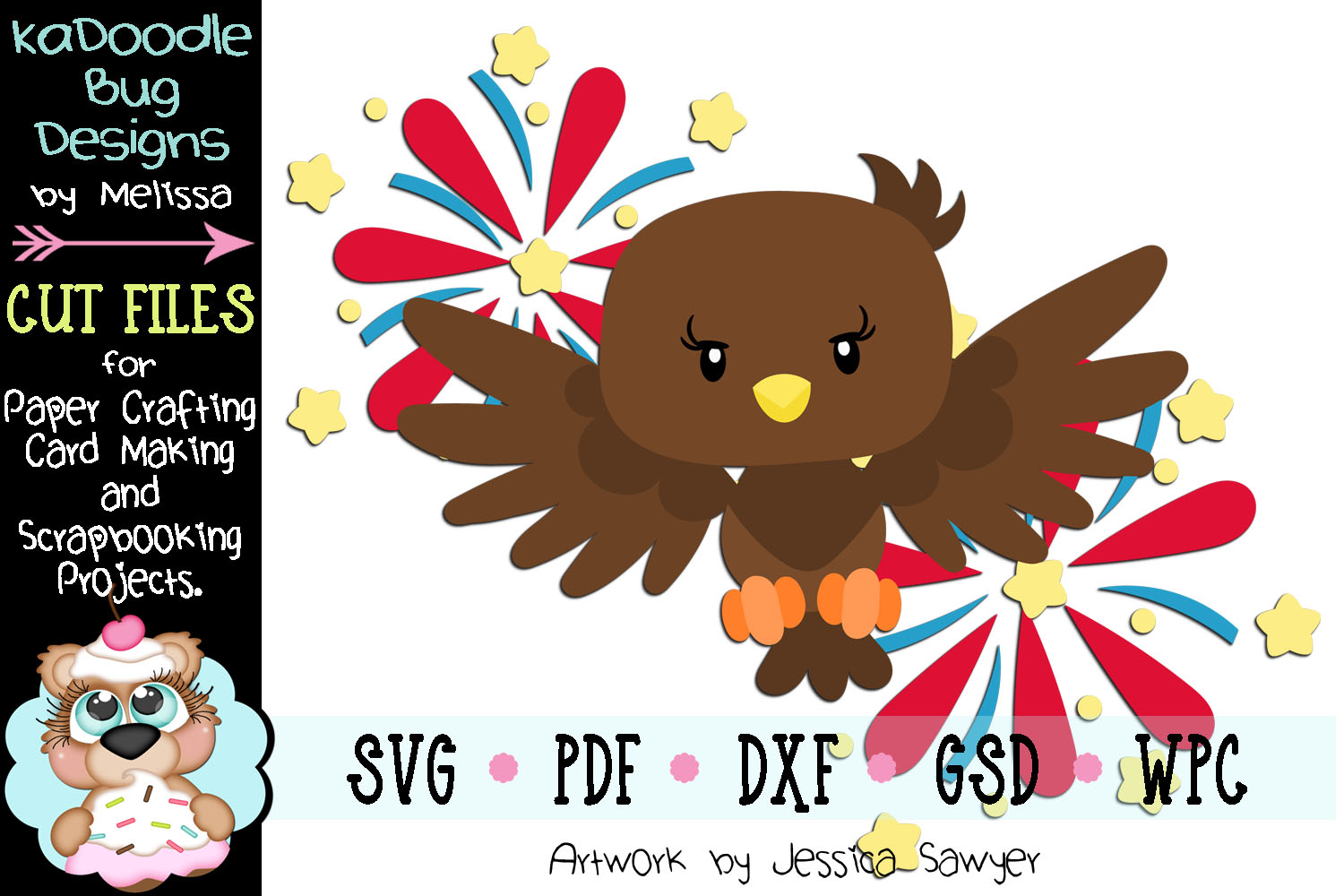 4th of July Flirework Eagle Cut File - SVG PDF DXF GSD WPC example image 1