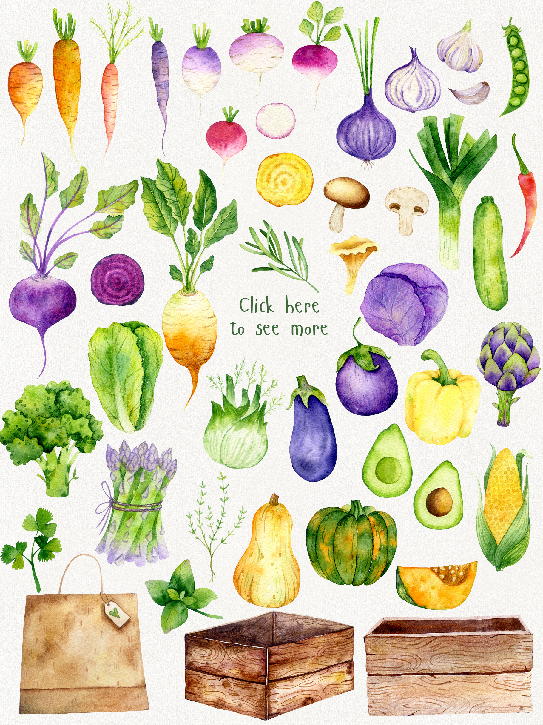 Vegetable Time Watercolor Set example image 2