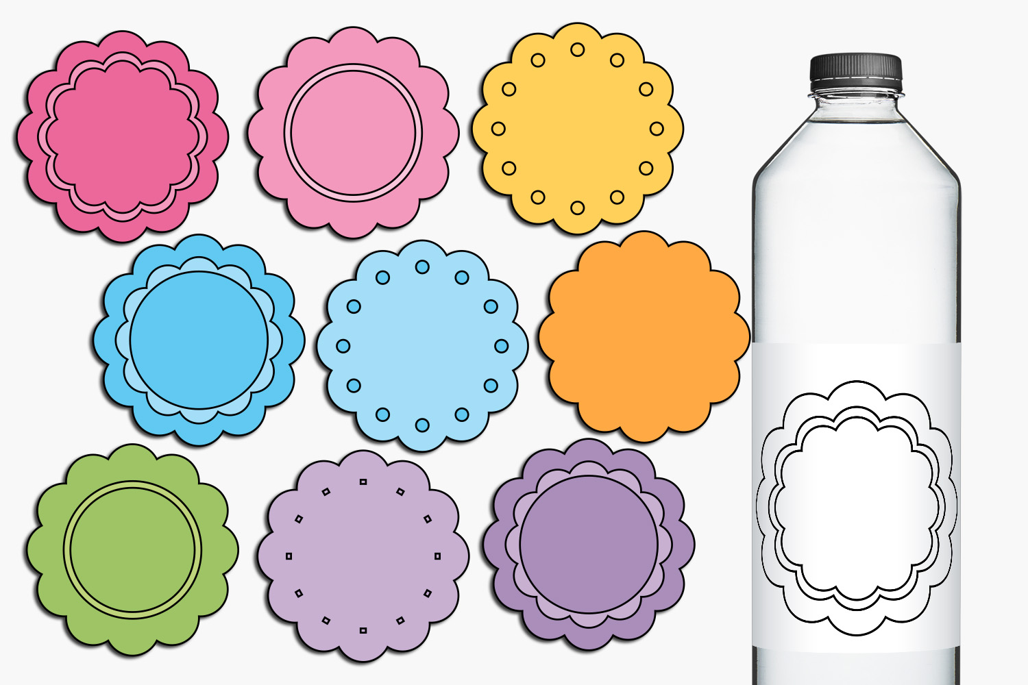 Scallop pastel tags illustrations example image 1