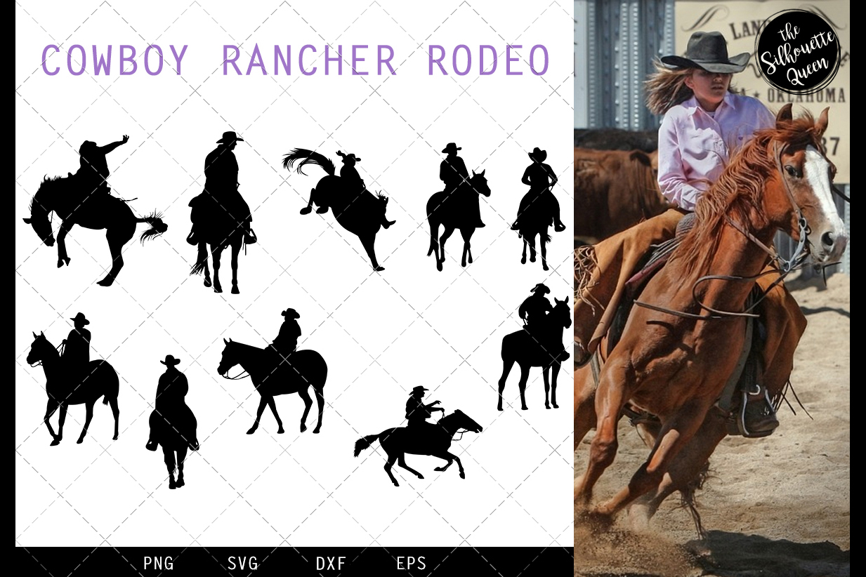 Cowboy Rancher Rodeo svg file, western svg cut file, silhoue example image 1