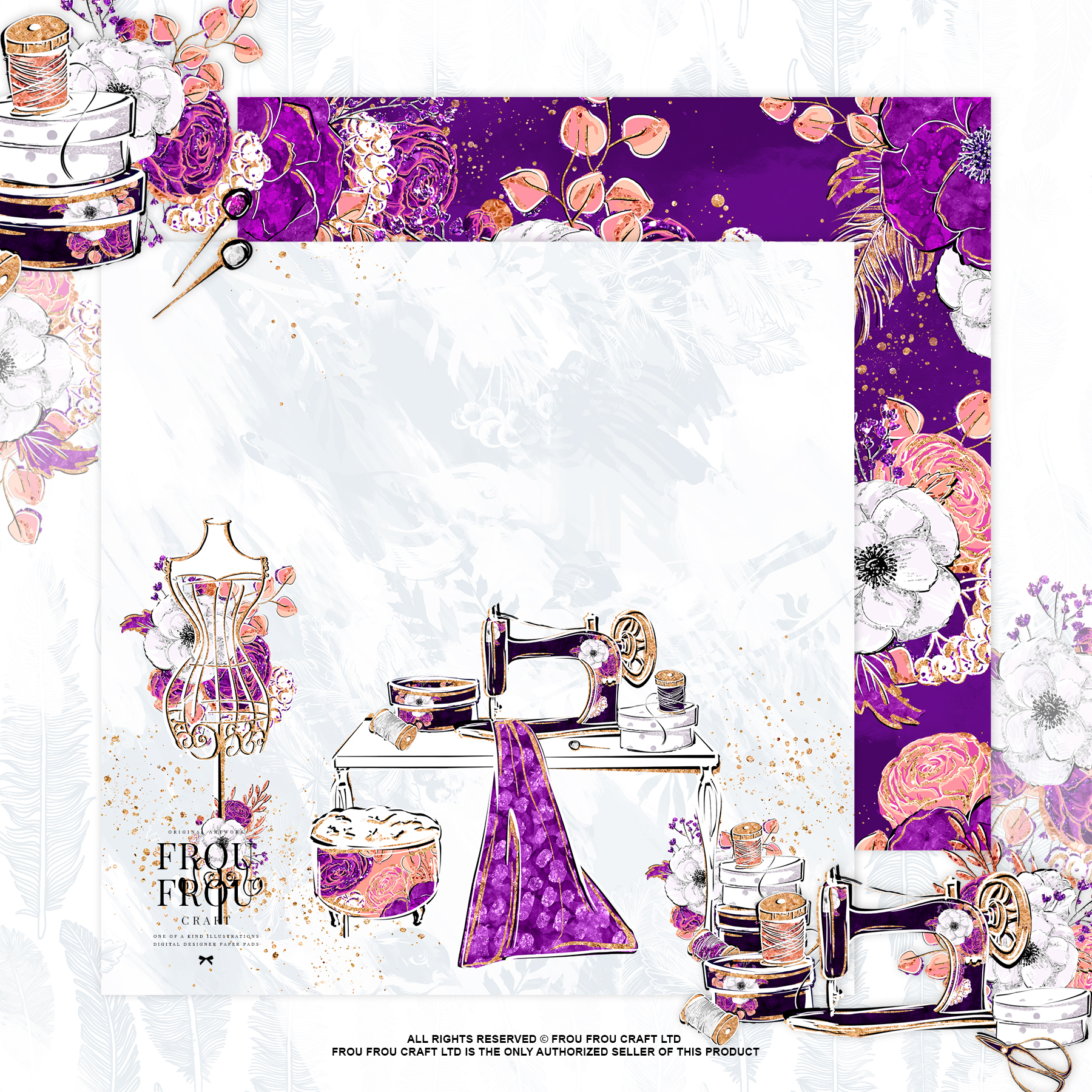 Fashion Designer Sewing Gold Glitter Paper Pack example image 3