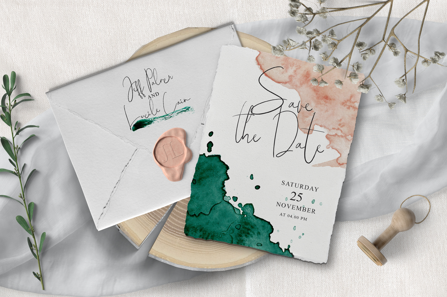 Green and Pink Wedding Invitation Suit example image 5