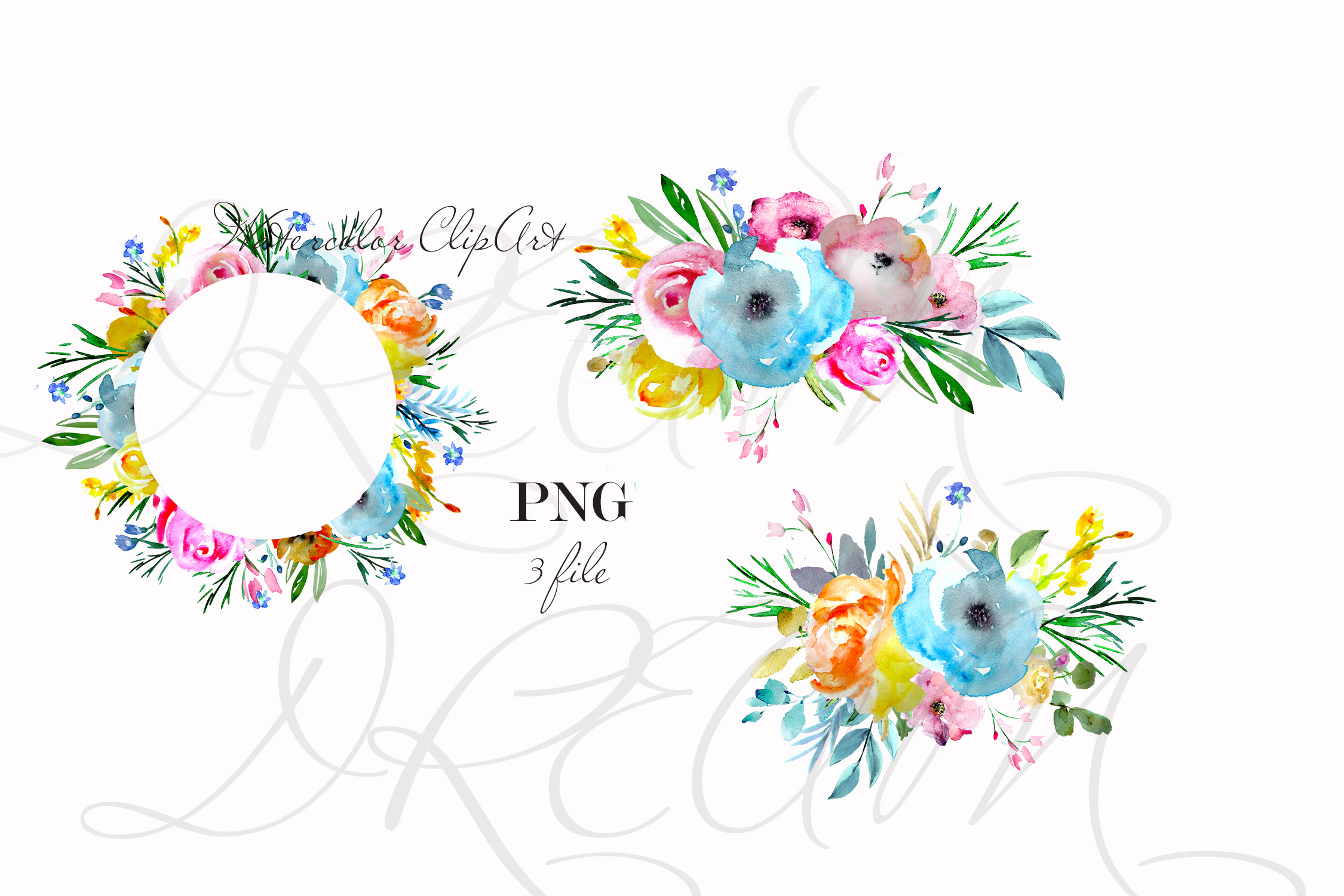 Brigt flowers watercolor clipart sprig floral desin cards example image 2