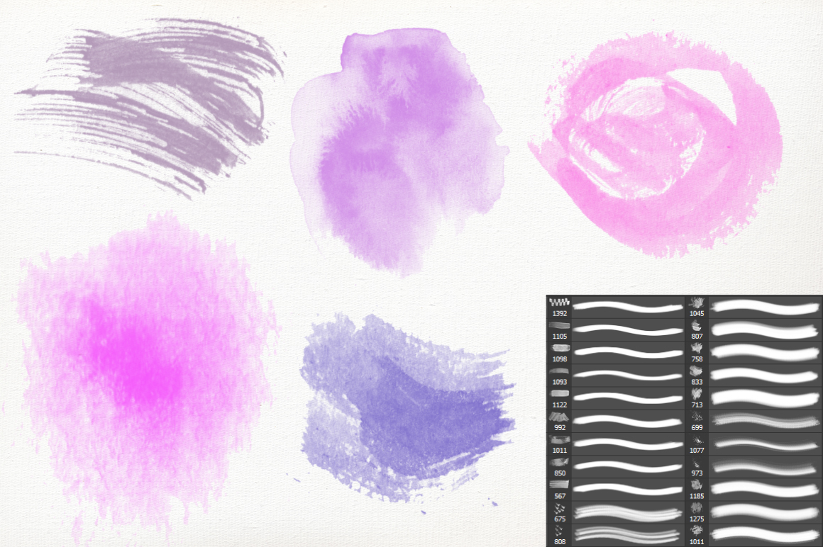 PS Watercolor Brush Kit 250 brushes example image 3