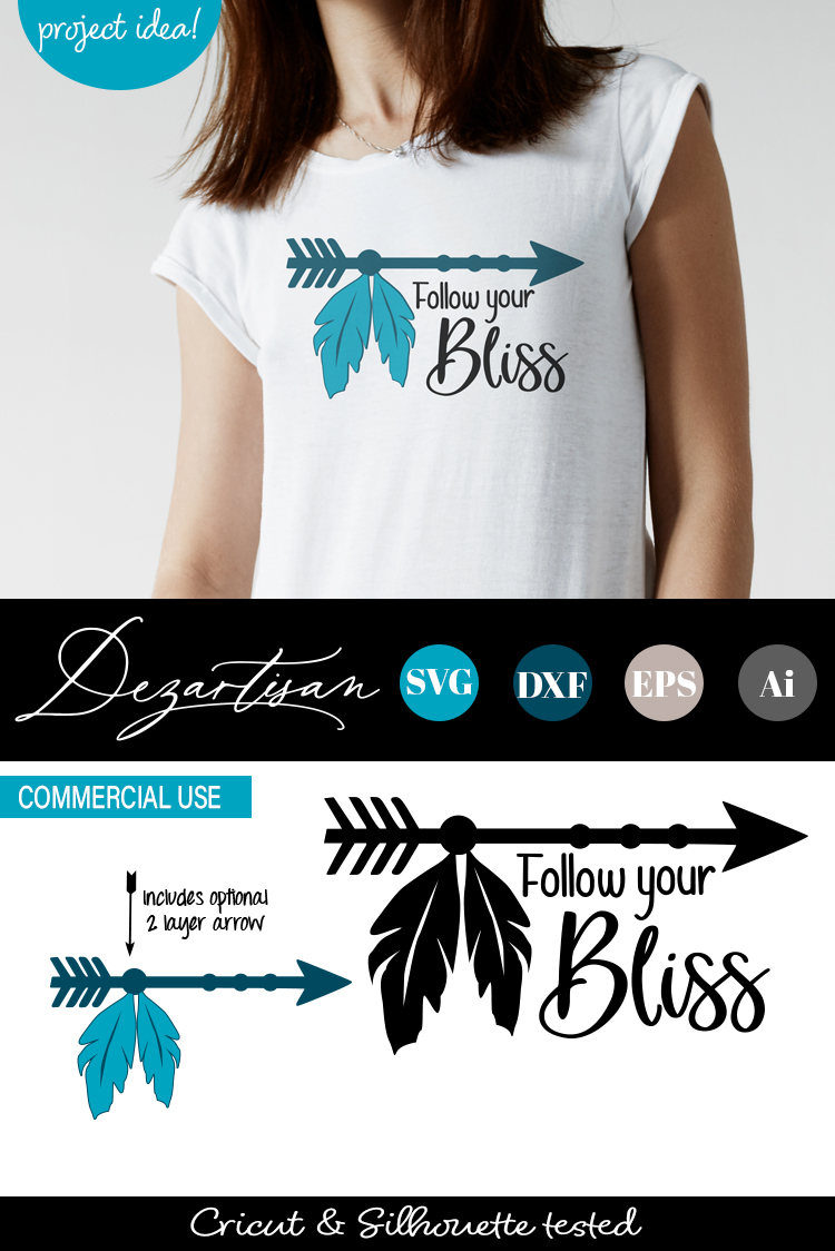Follow your bliss Boho Arrow Feathers SVG DXF cut file example image 2