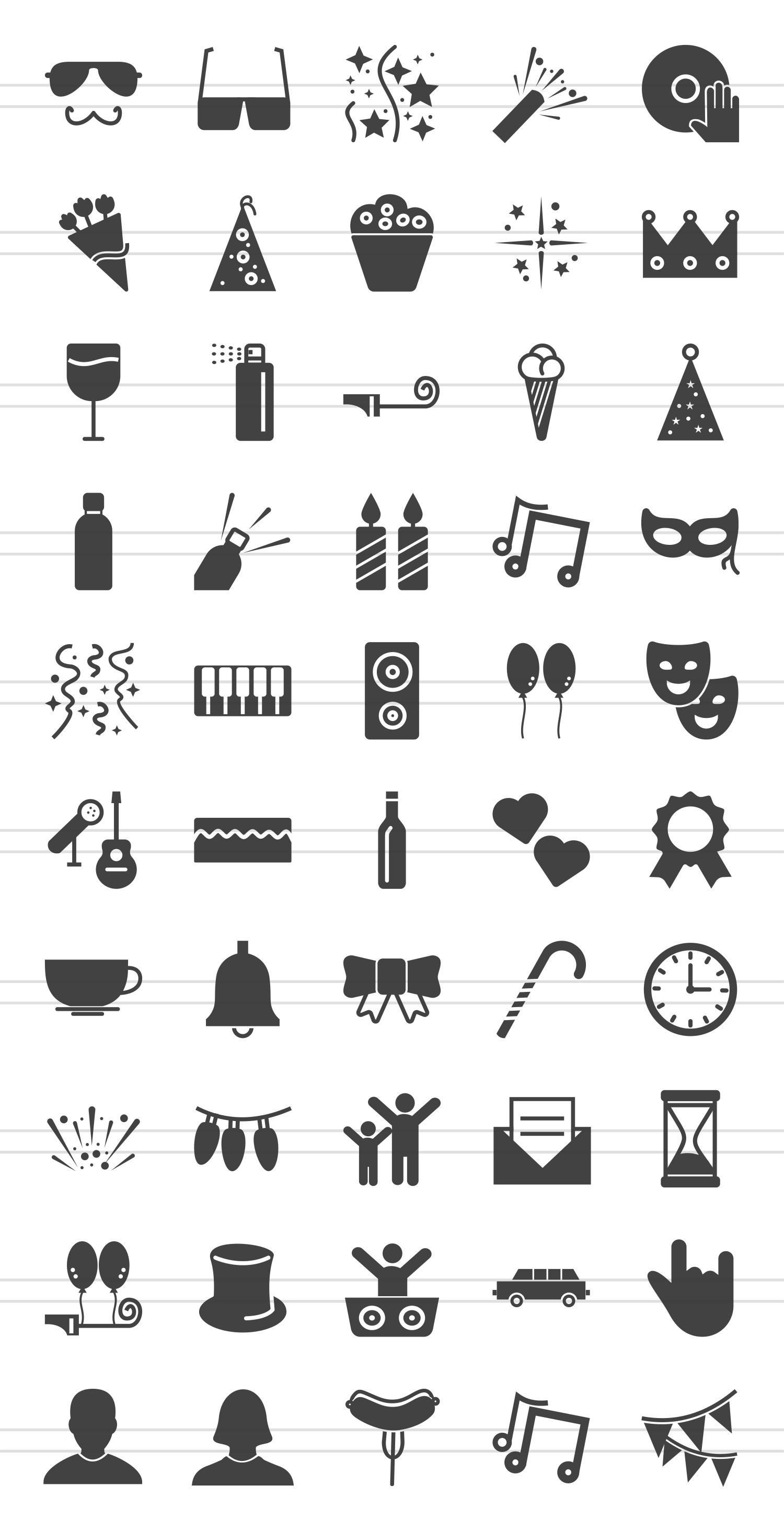 50 Party Glyph Icons example image 2