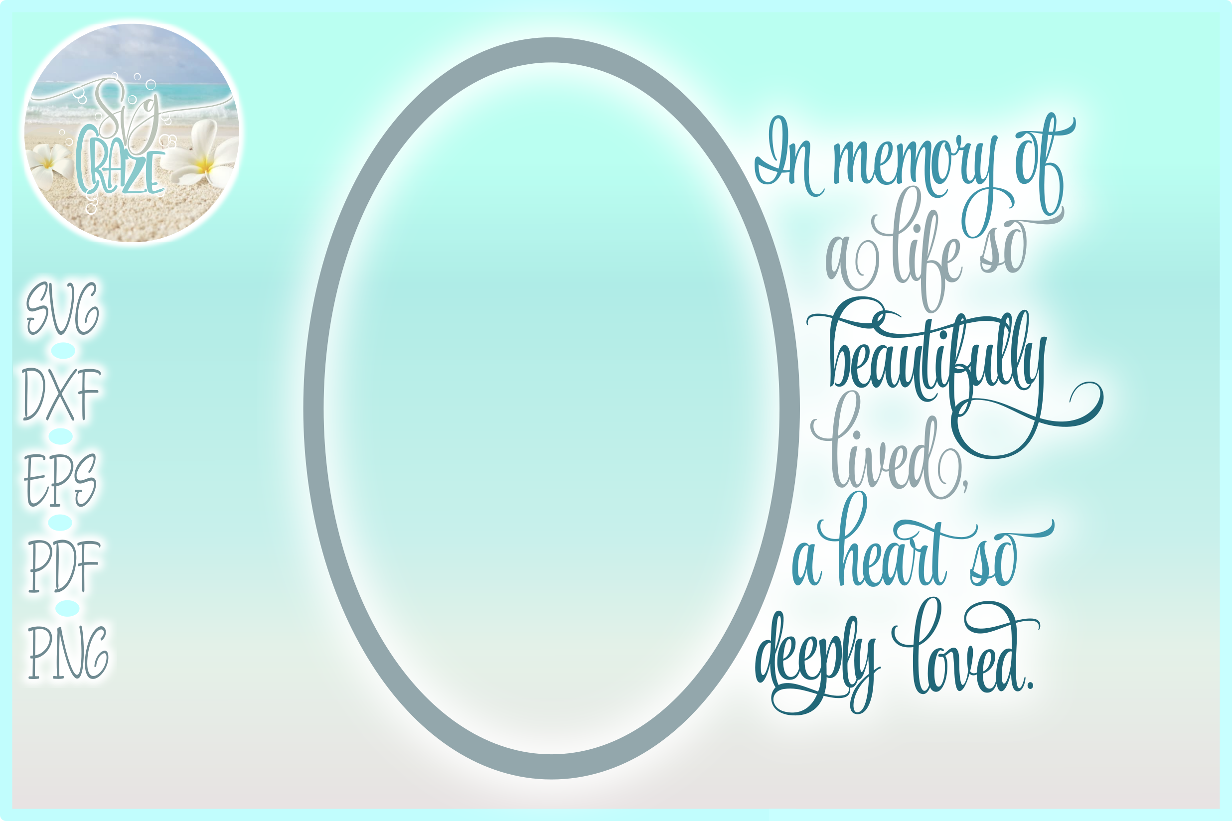 In Memory of Life Beautifully Lived Heart Deeply Loved SVG example image 1