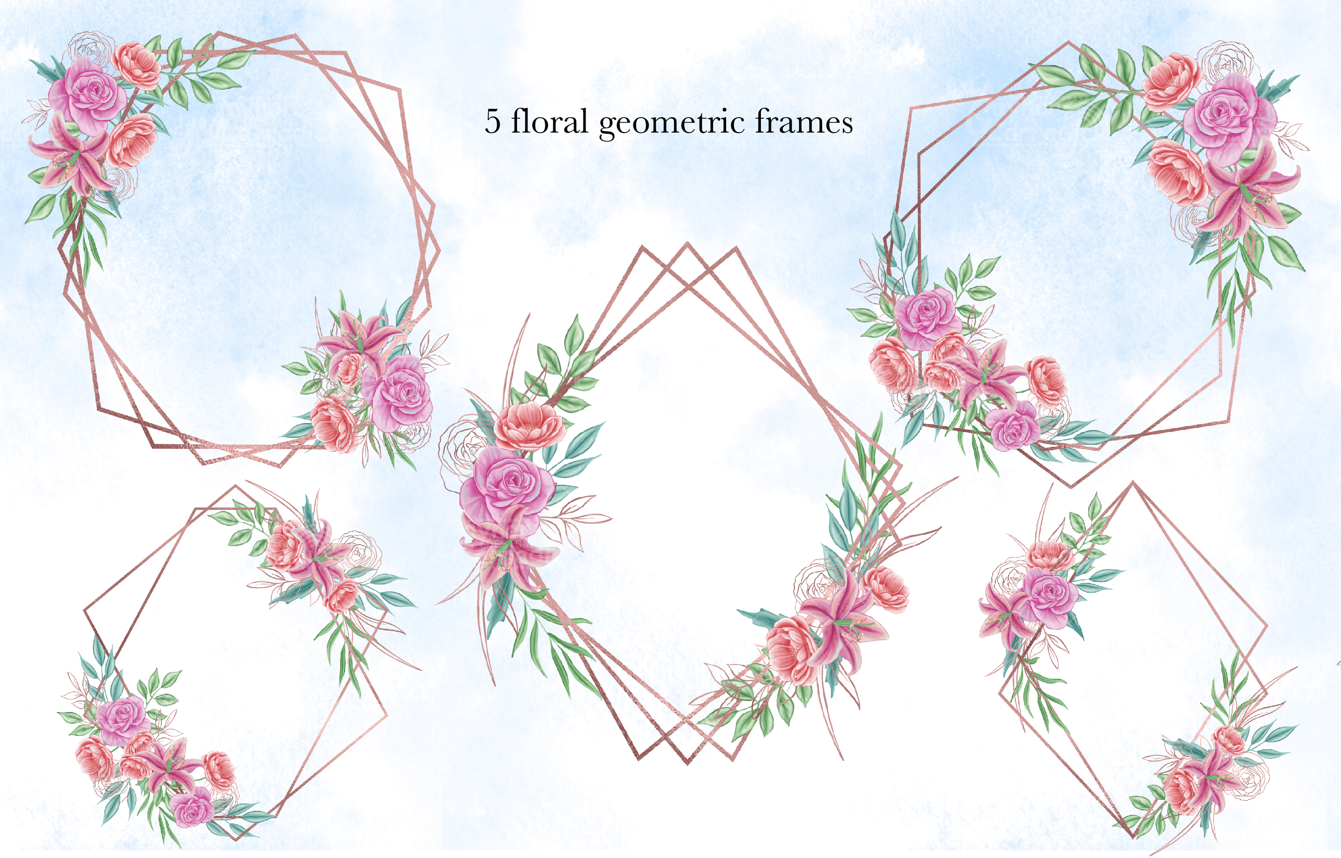Floral geometric- watercolor frames Clipart collection example image 2