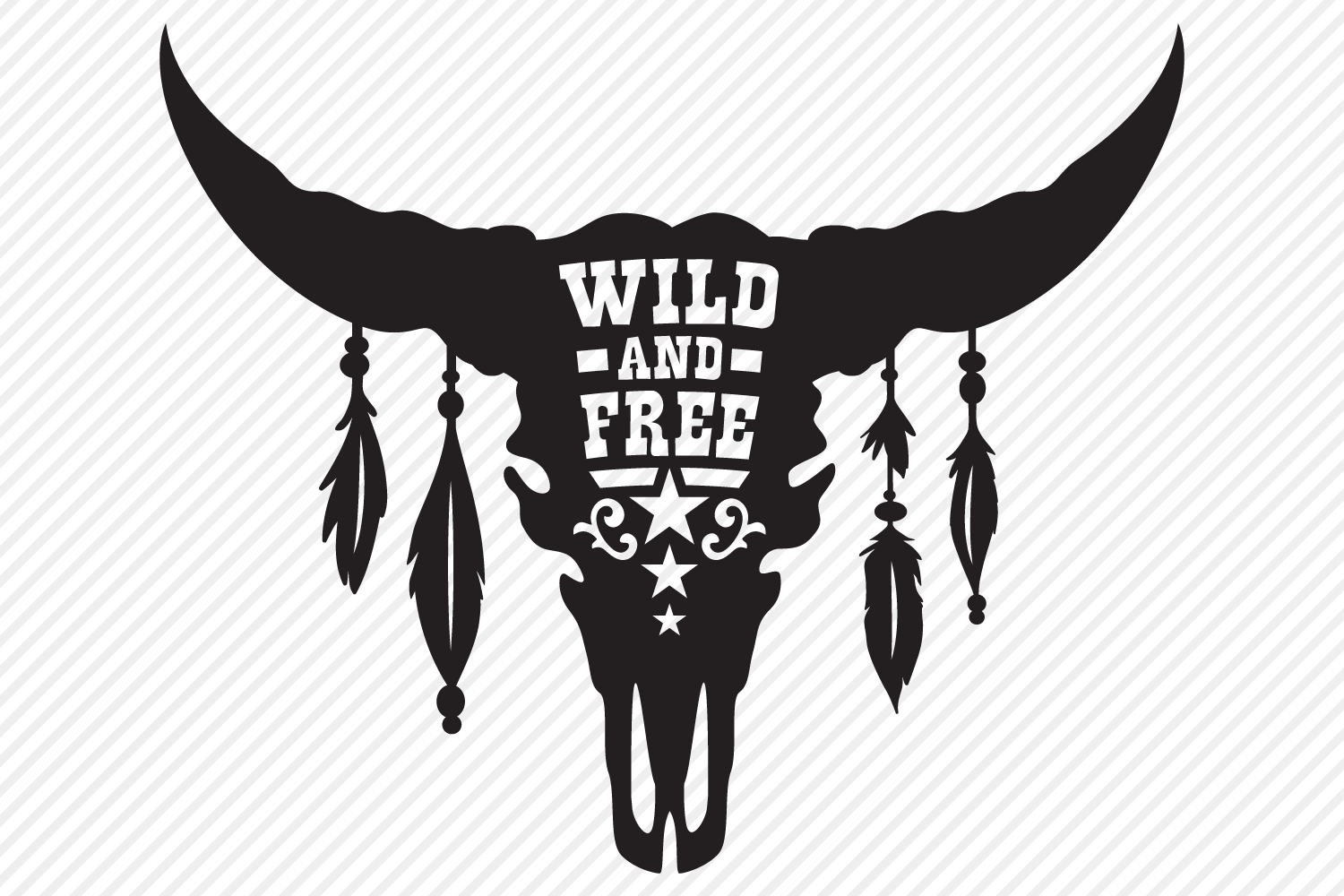 Download Wild And Free SVG, Cut File, Southern Cow Skull Shirt Design