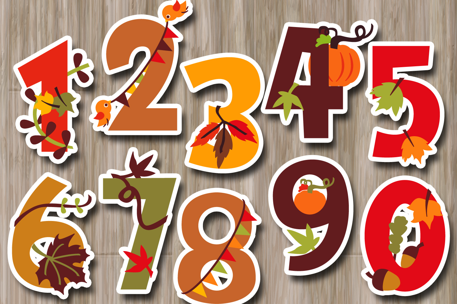 Autumn numbers clipart, fall season graphic illustrations example image 2