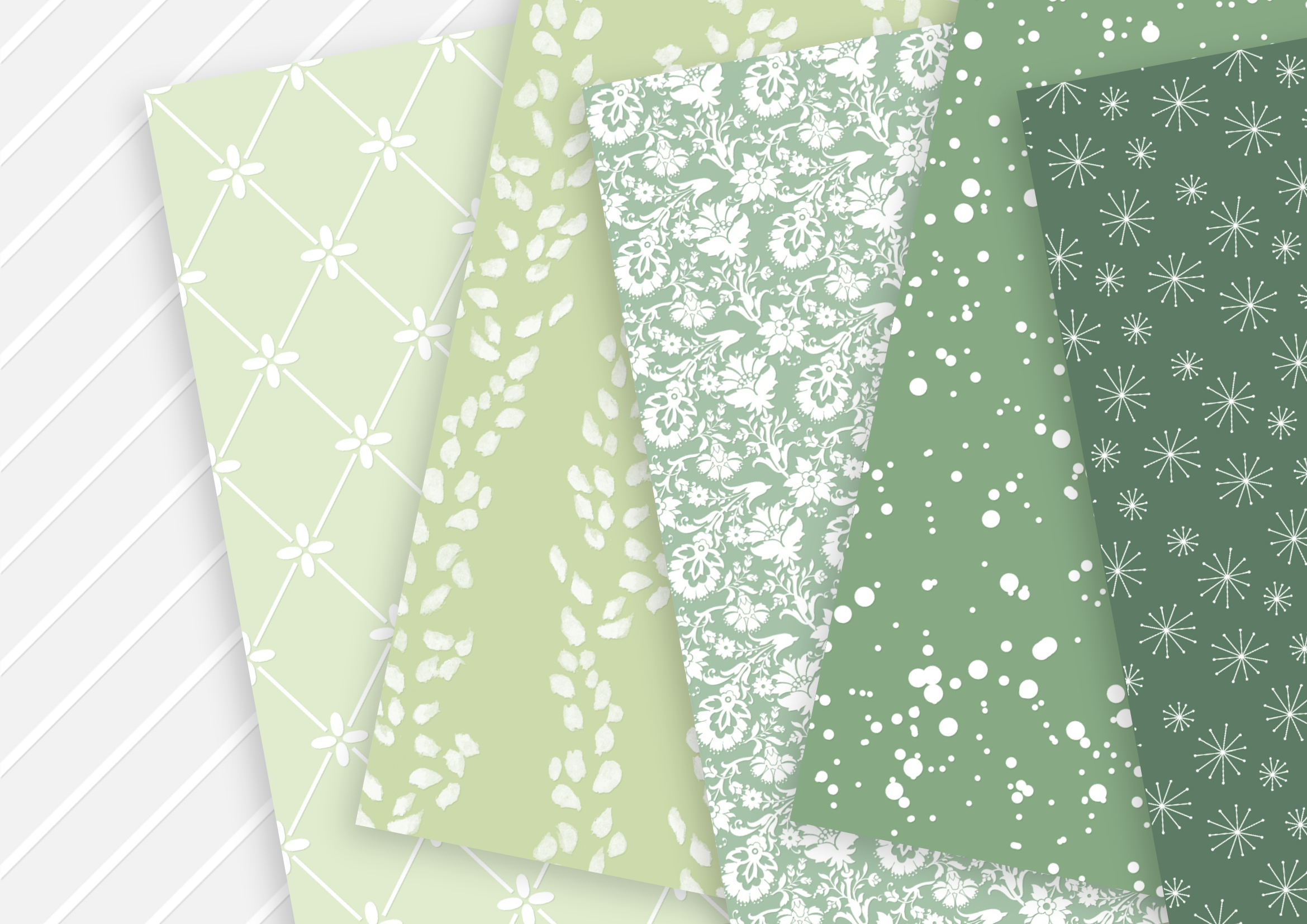 Fern White and Soft Gold Digital Paper example image 5