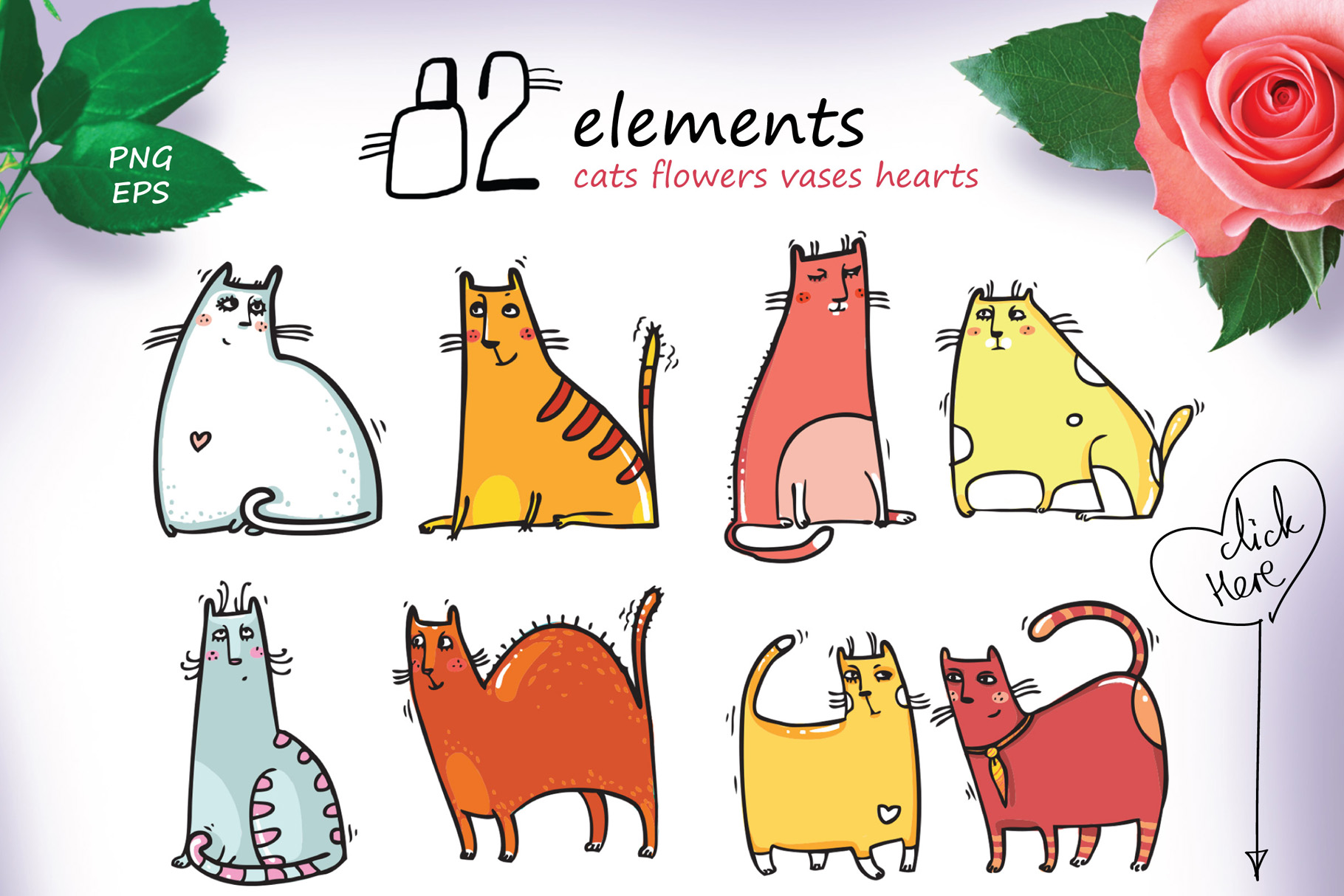 Saint Valentine's Cats - patterns, frames example image 4