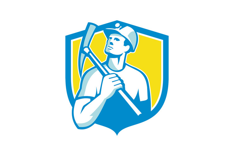 Coal Miner Holding Pick Axe Looking Up Shield Retro example image 1