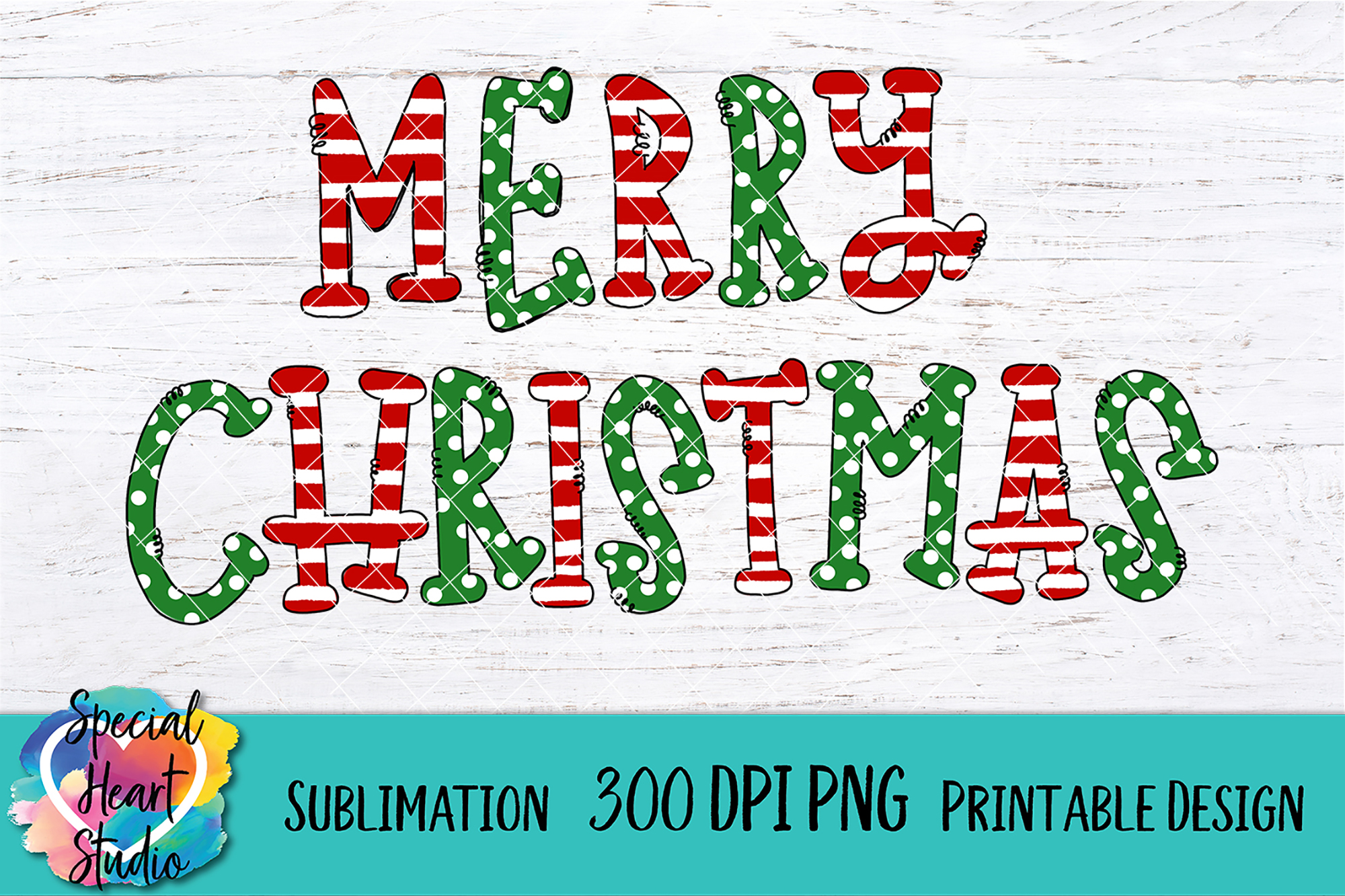 Merry Christmas - Sublimation - Hand Lettered Christmas PNG example image 2