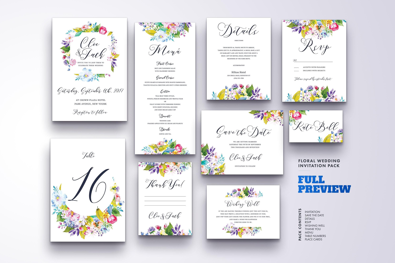 Floral Wedding Invitation Bundle example image 12