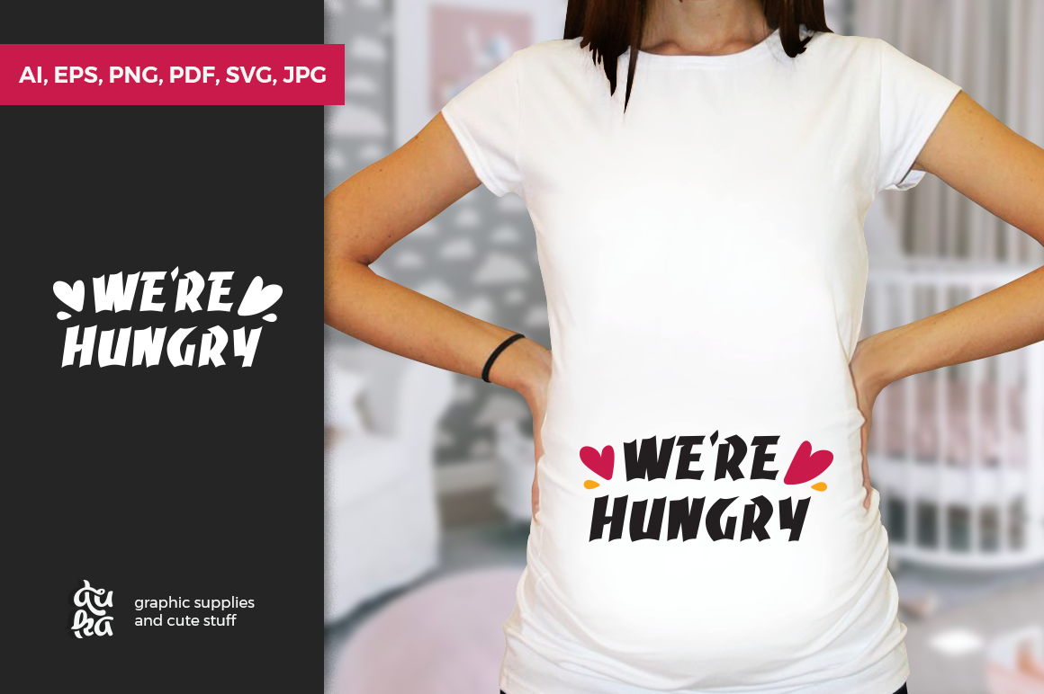 Pregnancy Announcement SVG Cut Files - We're hungry example image 1