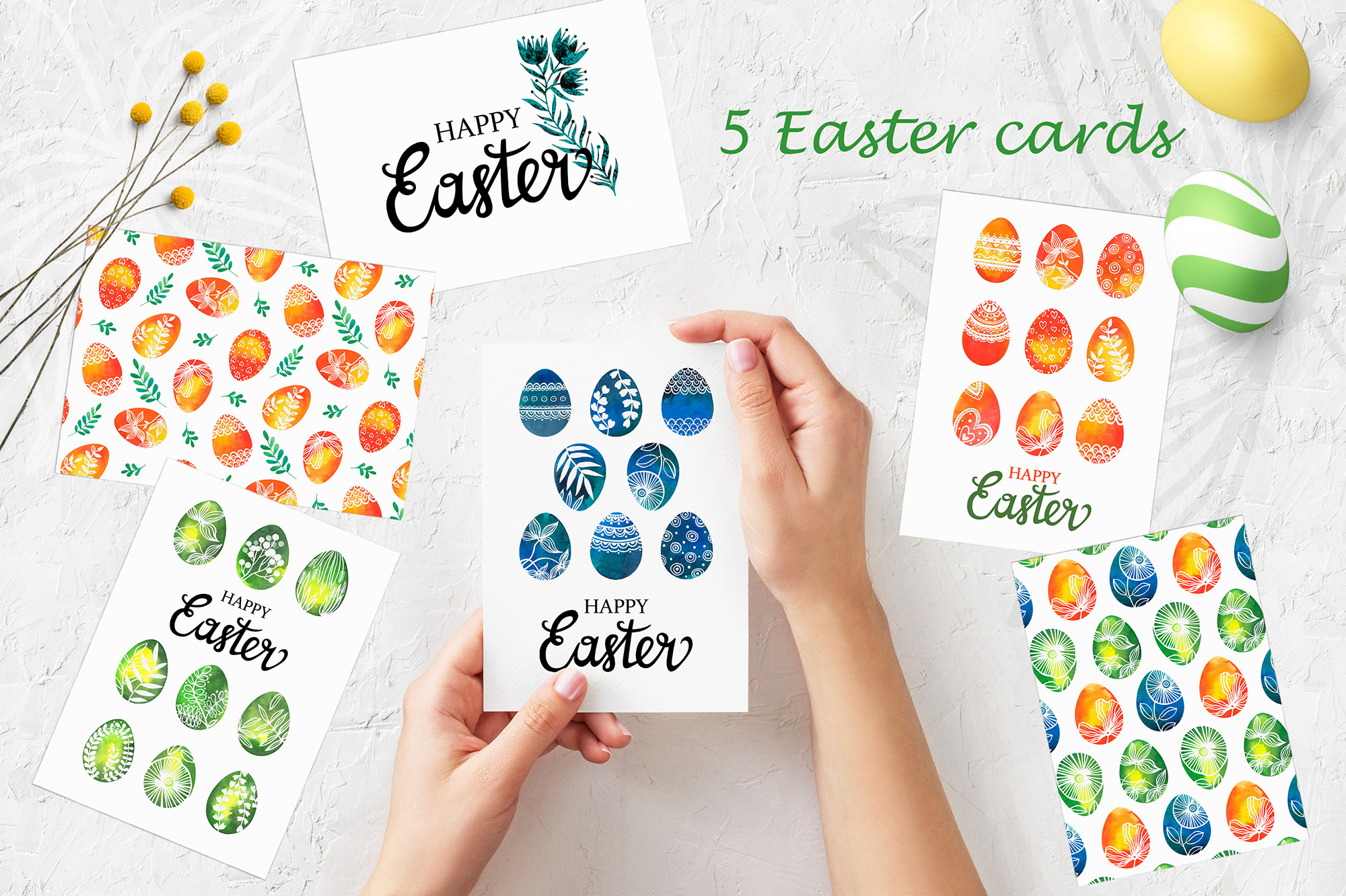 Watercolor Easter eggs, patterns example image 5