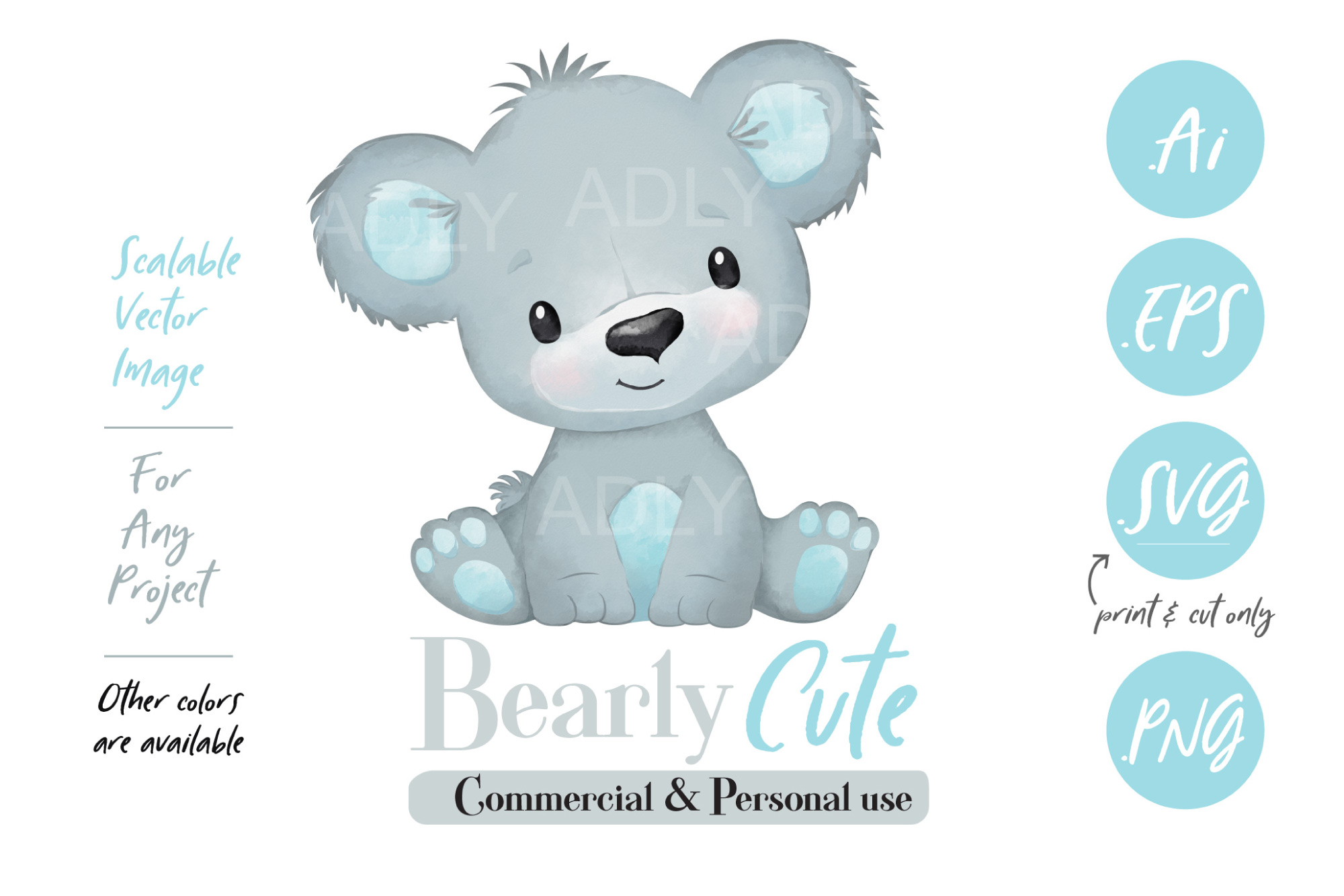 Cute Watercolor Baby Boy Bear Vector with Blue Ears example image 1