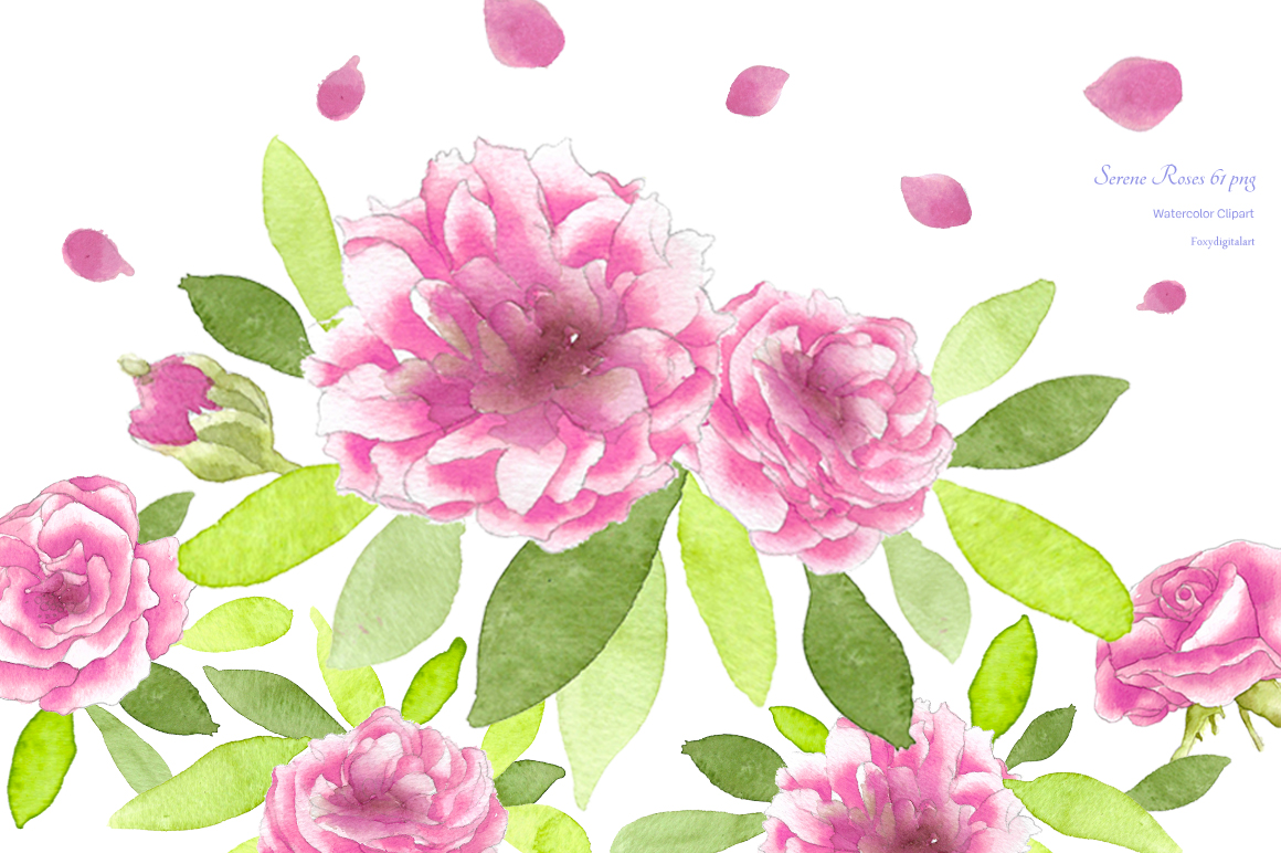 Watercolor Flowers Roses Clipart example image 1