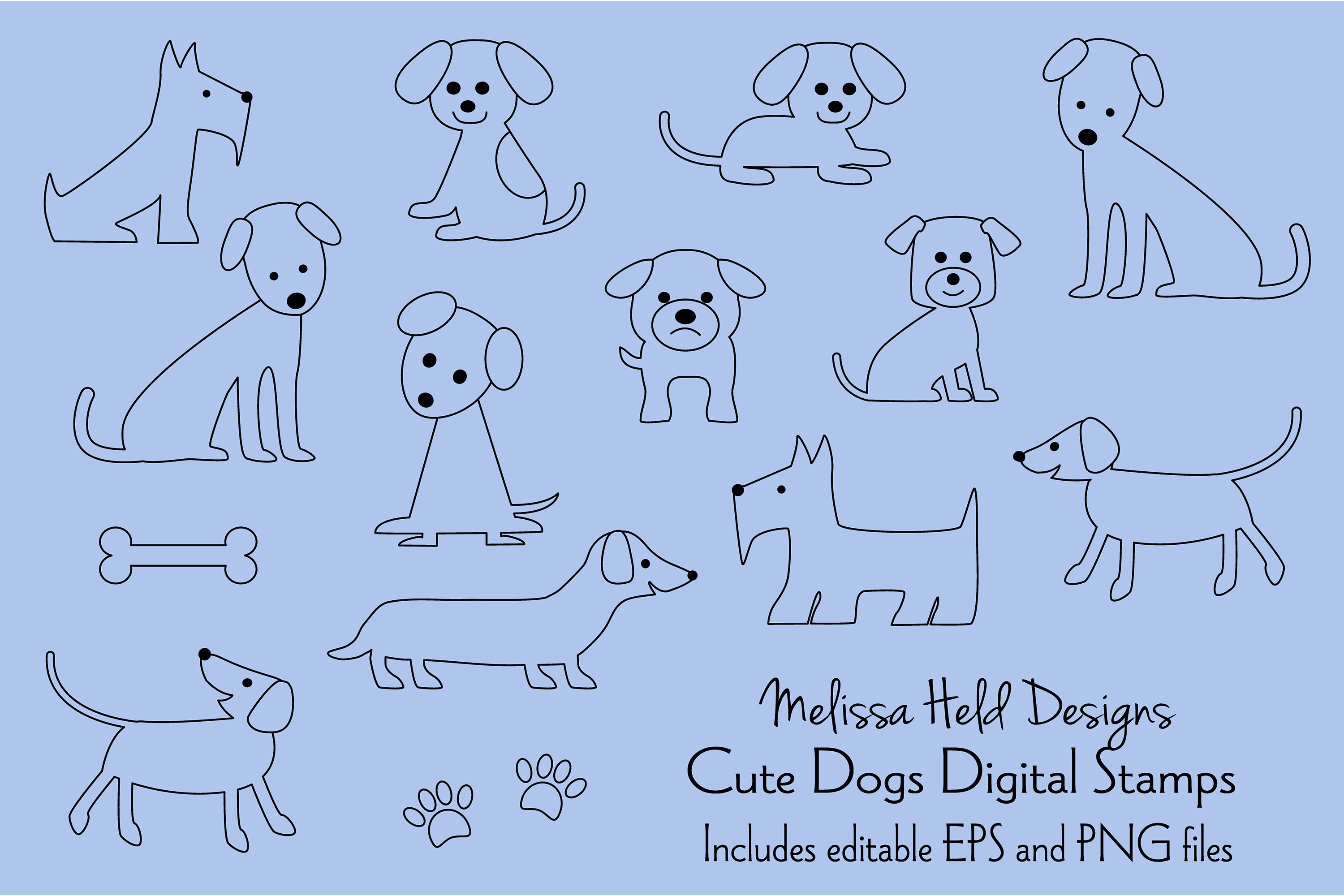 Cute Dogs Digital Stamps example image 1