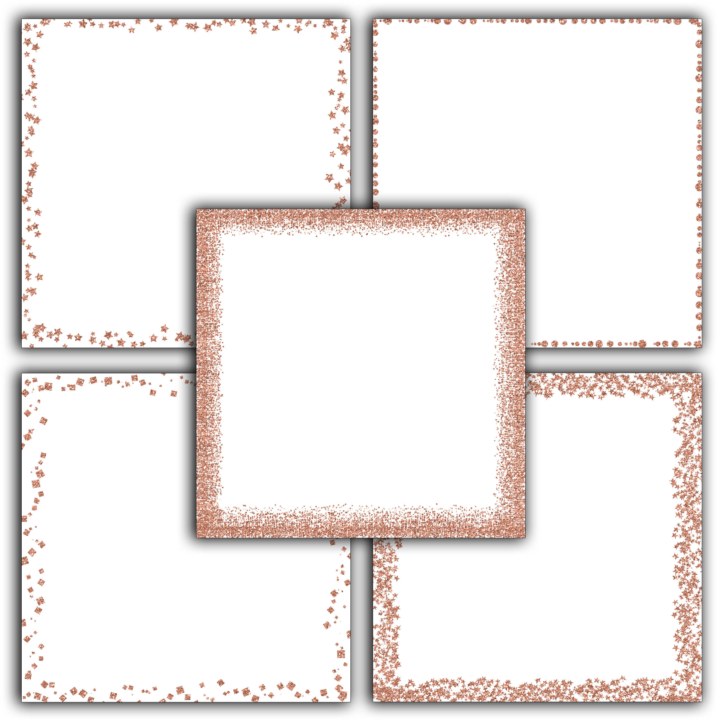 Rose Gold Glitter Borders Digital Paper example image 2