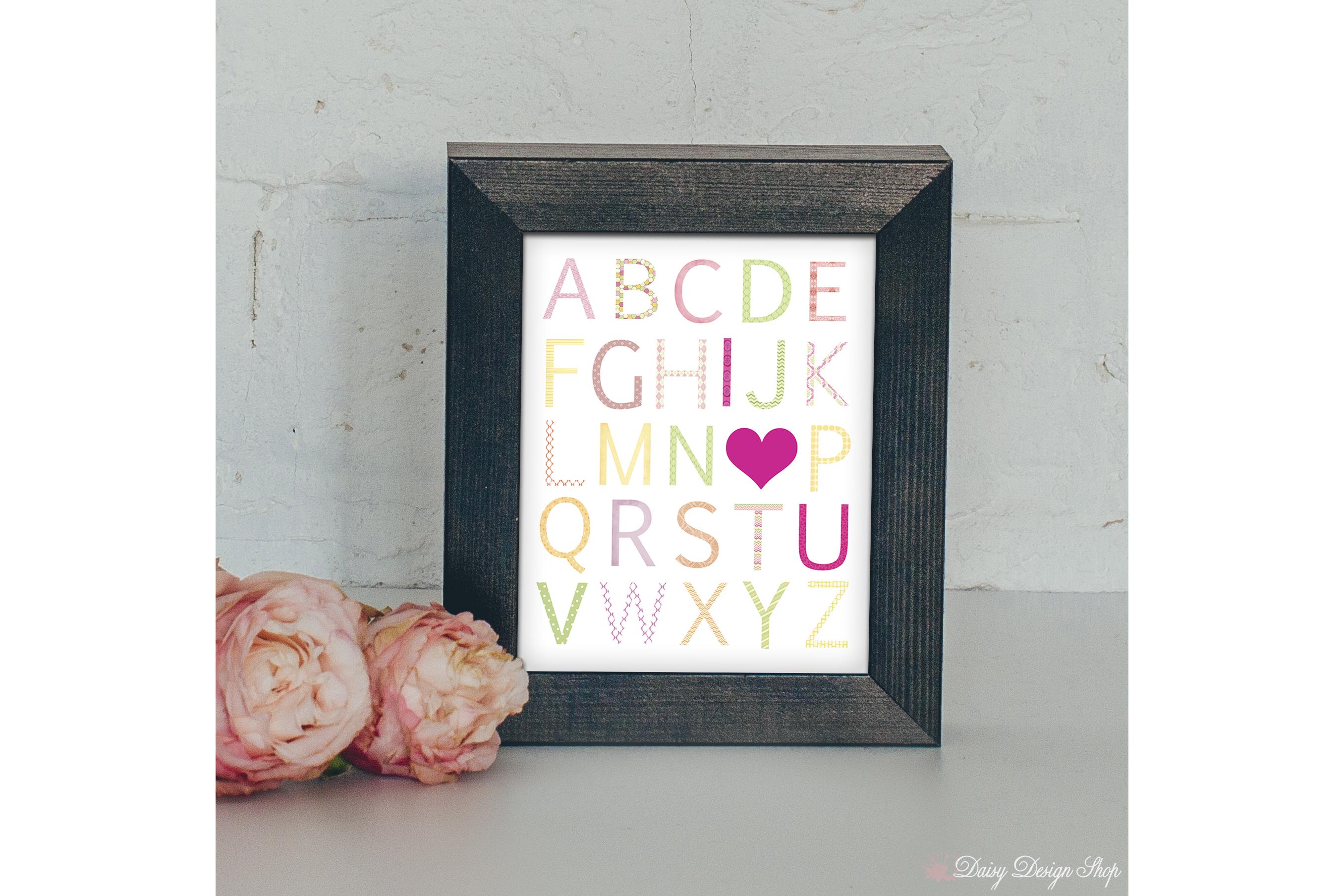 Art Print - Alphabet I Love You - Pink Yellow and Green - Nursery or Home 8x10 Printable example image 1