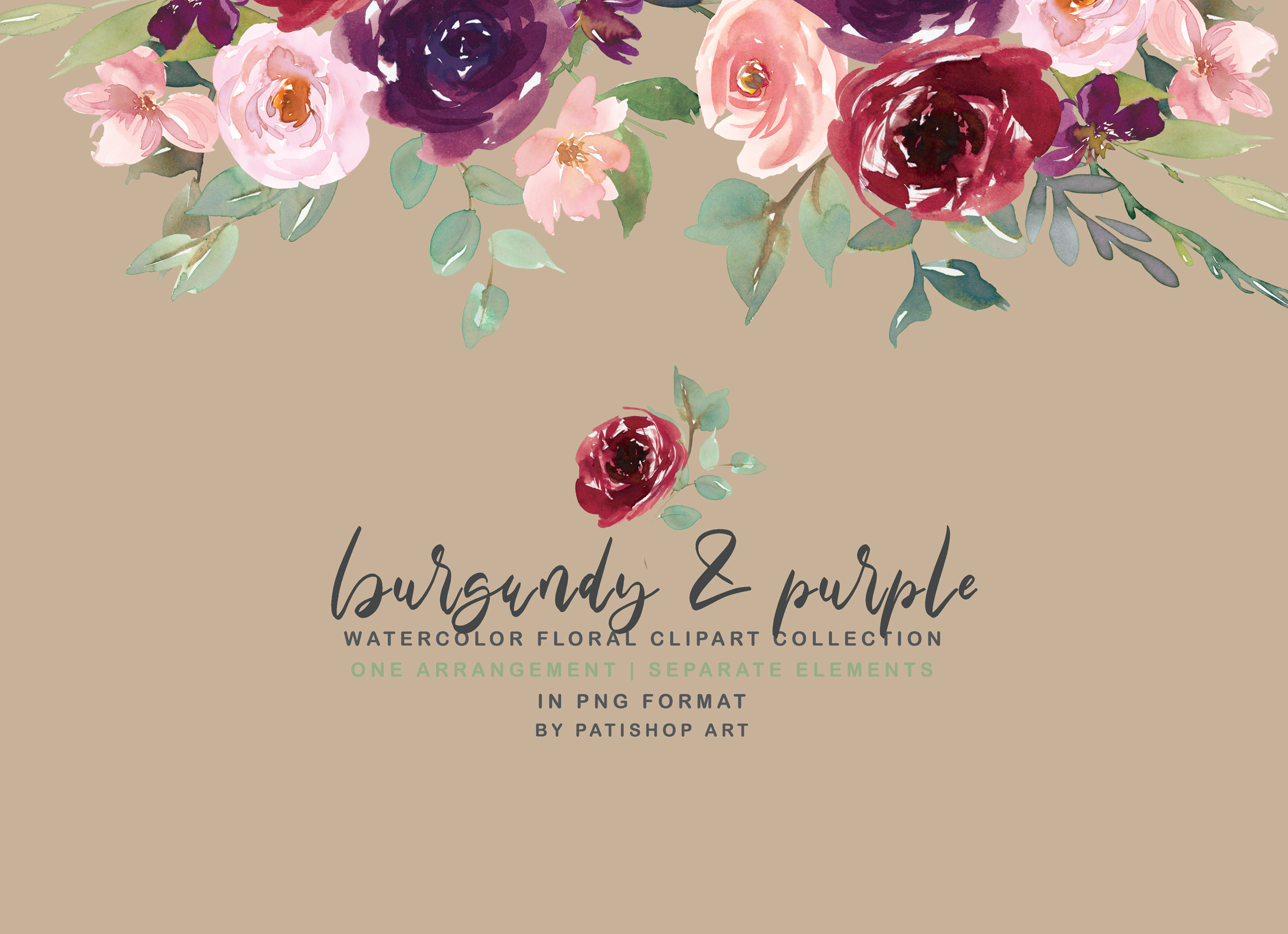 Burgundy Purple and Blush Watercolor Floral Clipart Set example image 4