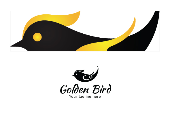 Golden Fly - Black Bird with Golden Wings Stock Logo example image 3