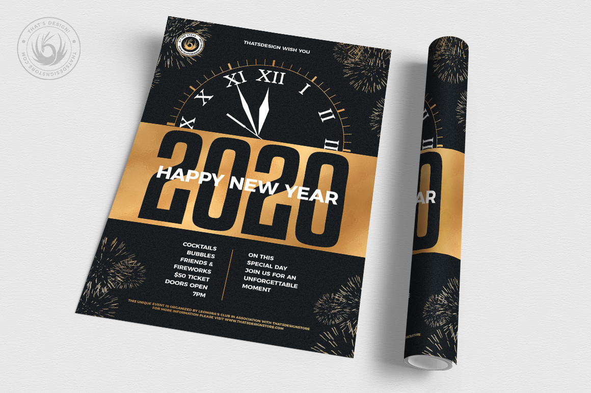 New Year Flyer Template V10 example image 3