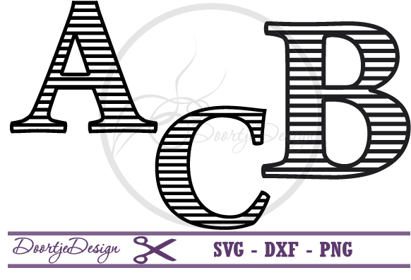 Striped Letters SVG cutting files example image 1
