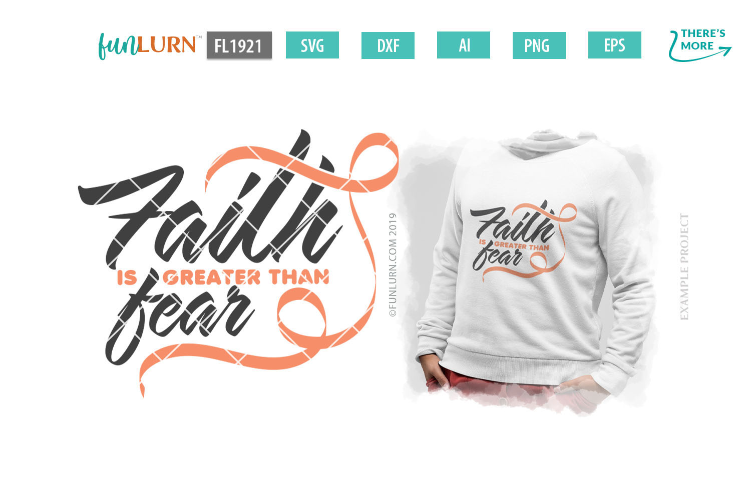 Faith is Greater Than Fear Peach Ribbon SVG Cut File example image 1