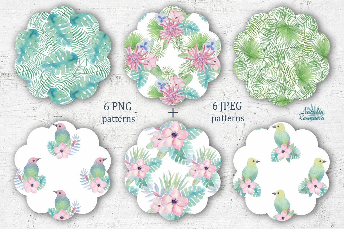 Tropical watercolor patterns + BONUS example image 2