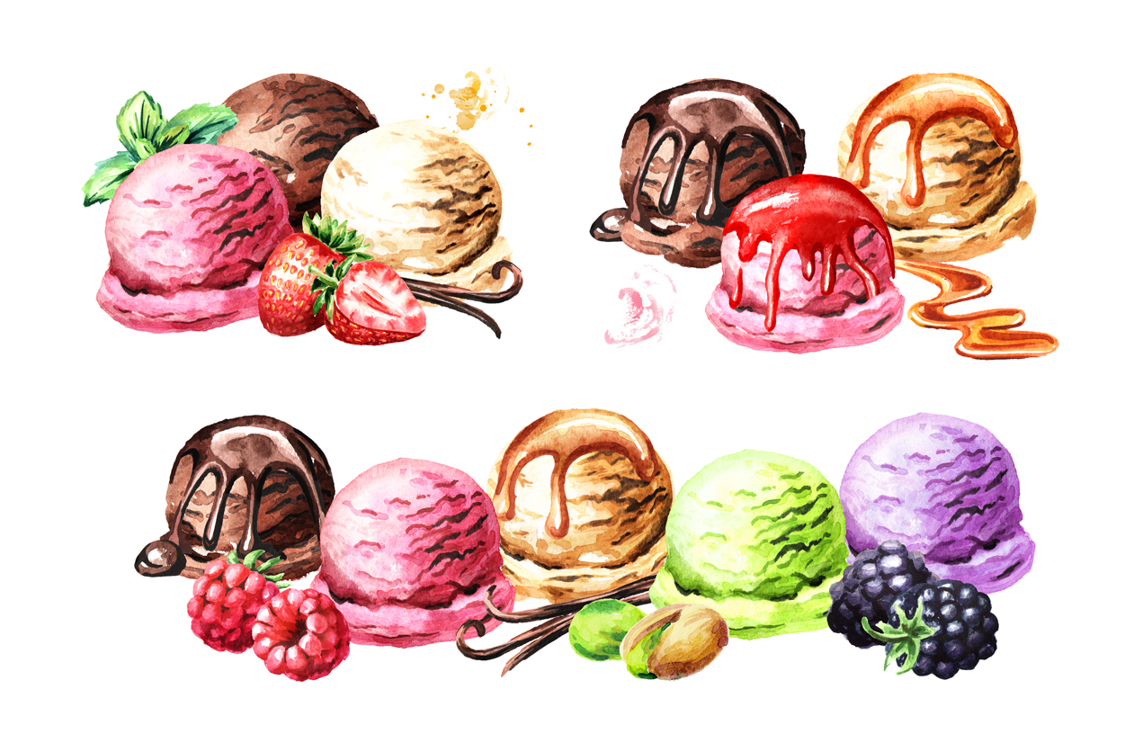 Ice cream. Watercolor collection example image 4
