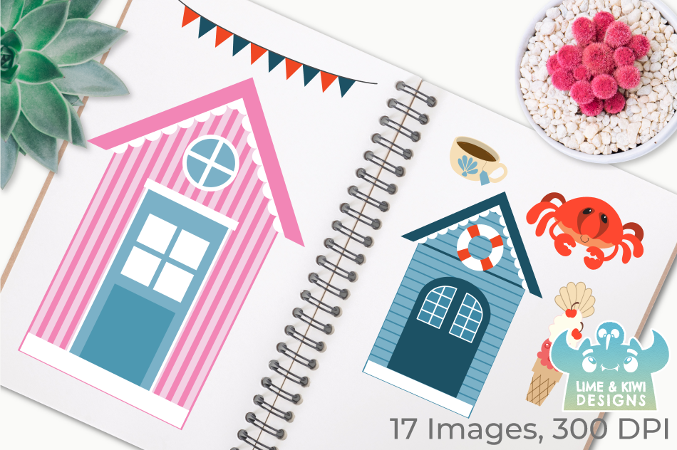 Beachside Cafe Clipart, Instant Download Vector Art example image 3