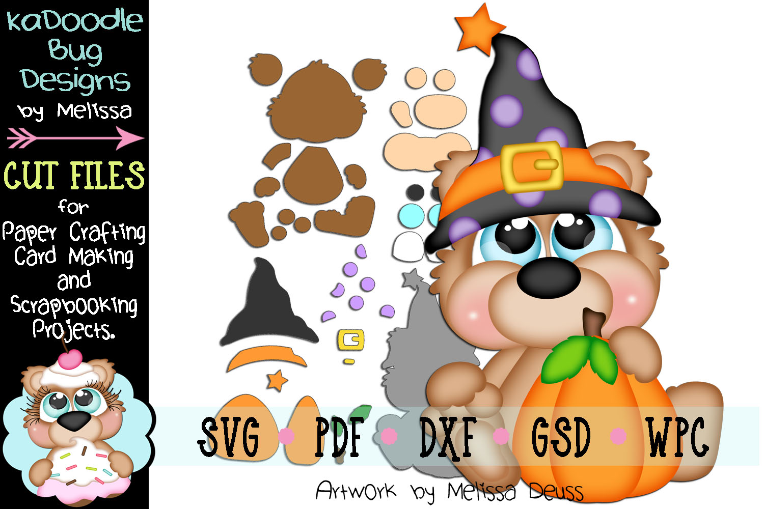 Pumpkin Witch Bear Cut File - SVG PDF DXF GSD WPC example image 1