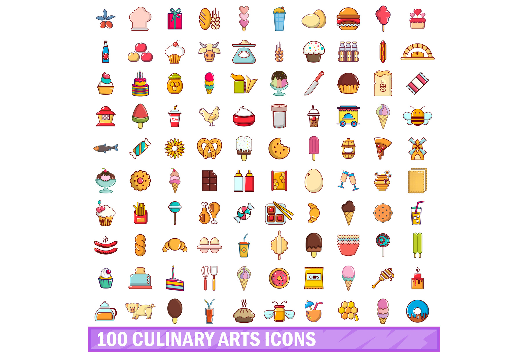 100 culinary arts icons set, cartoon style example image 1
