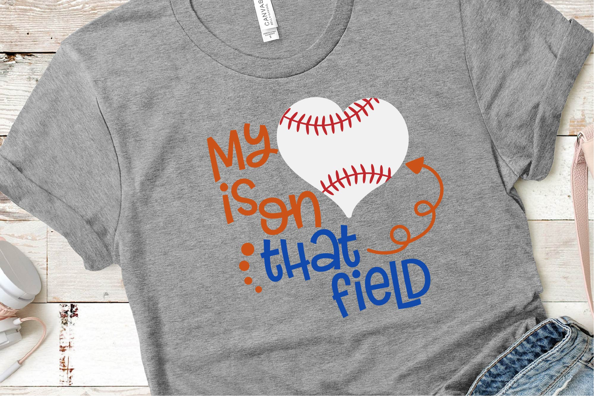 Baseball Mom SVG, My Heart Is On That Field SVG, Baseball example image 1