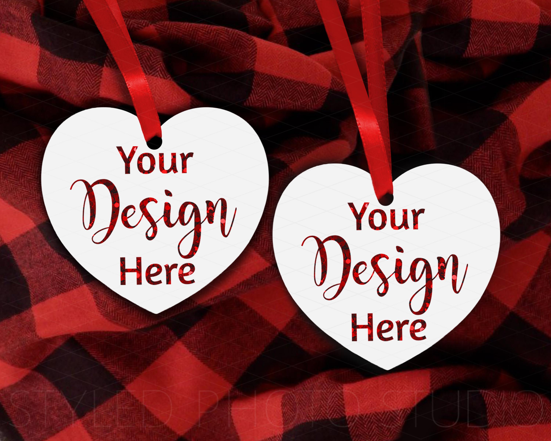 Christmas Heart Ornament Mockup Bundle, Bauble Mock Up, JPG example image 4