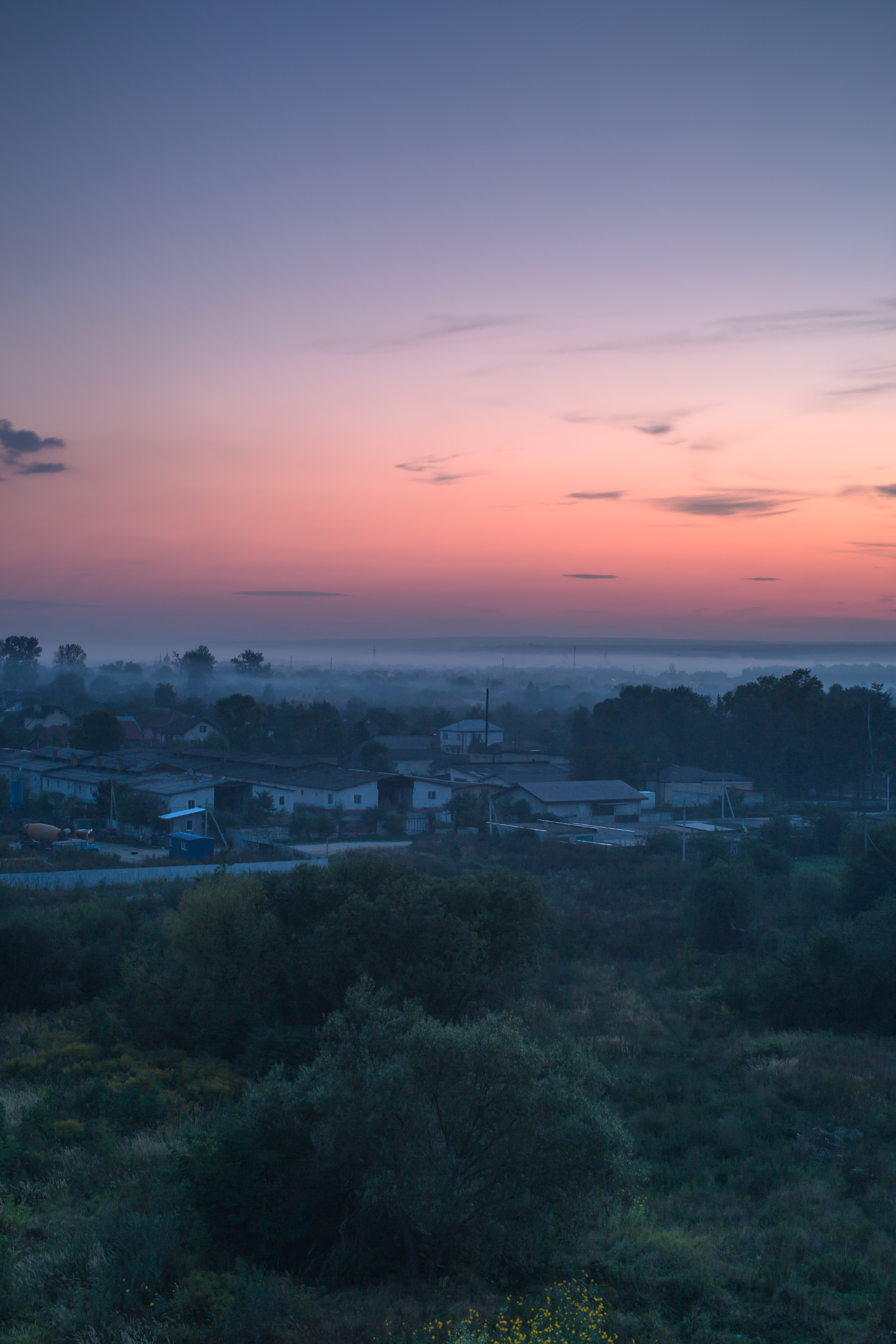 Foggy sunset in Europe	 example image 1