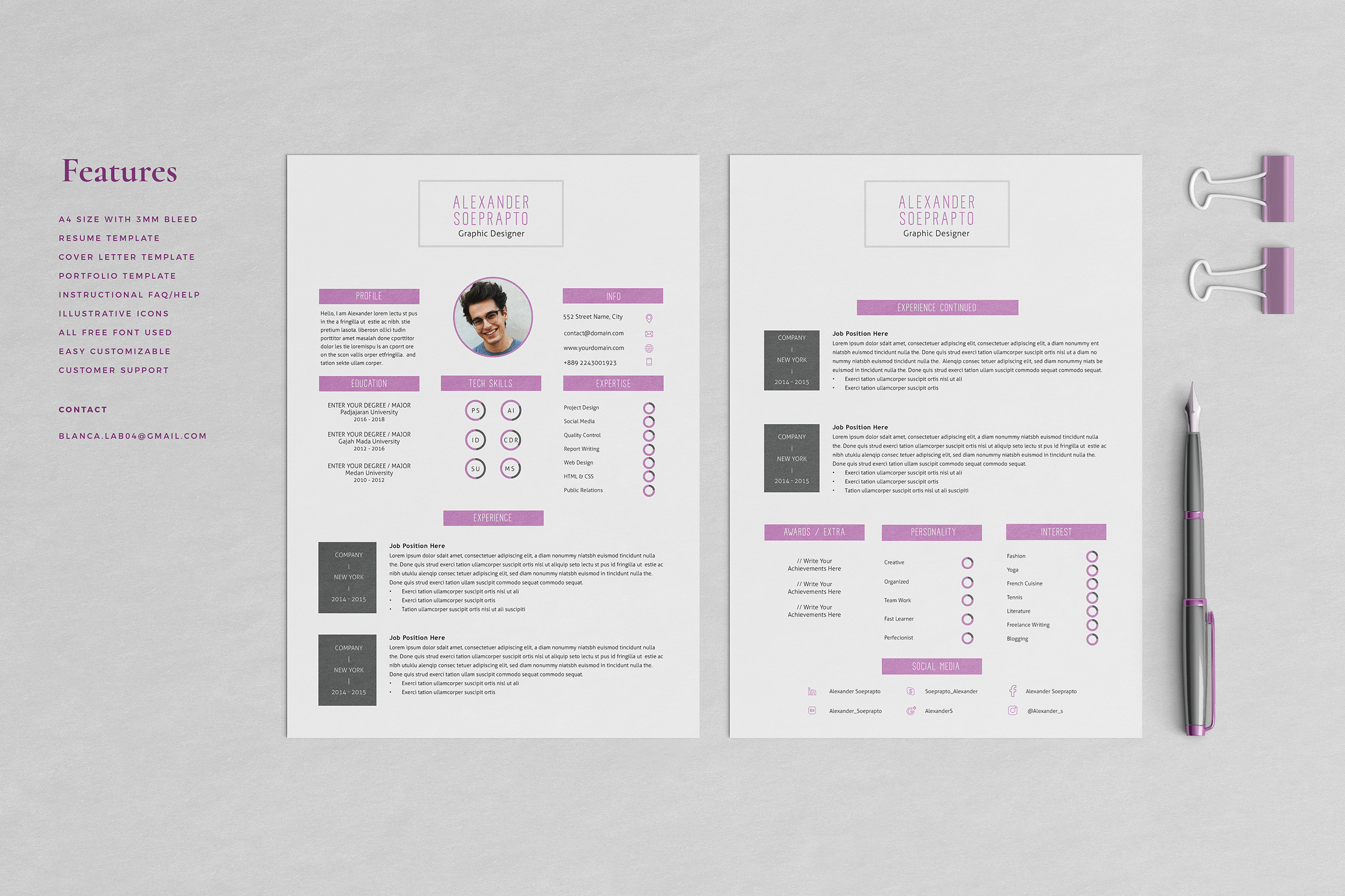Alexander Resume with Cover Letter Professional Template example image 2