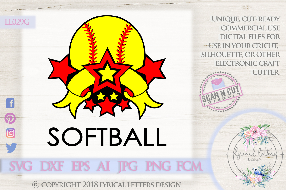 Softball Sports Banner with Stars SVG DXF FCM LL029G example image 1