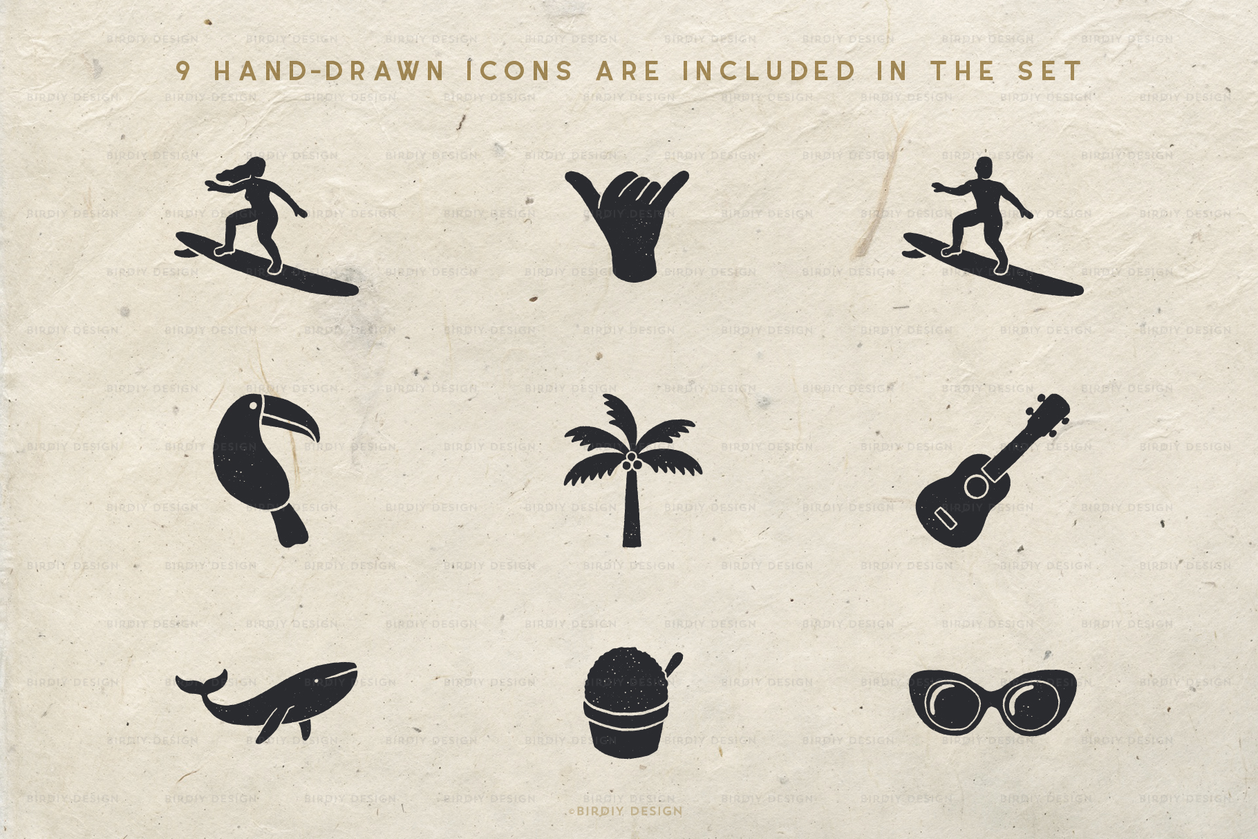 Summer Icons 2 Hand Drawn Graphics Set example image 2