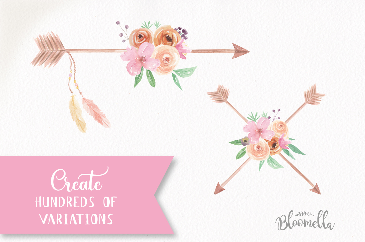 Watercolor Create Your Own Arrows Floral Clipart DIY ...