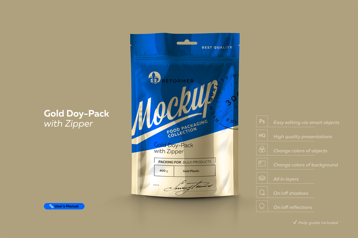 Gold Doy-Pack With Zipper example image 2