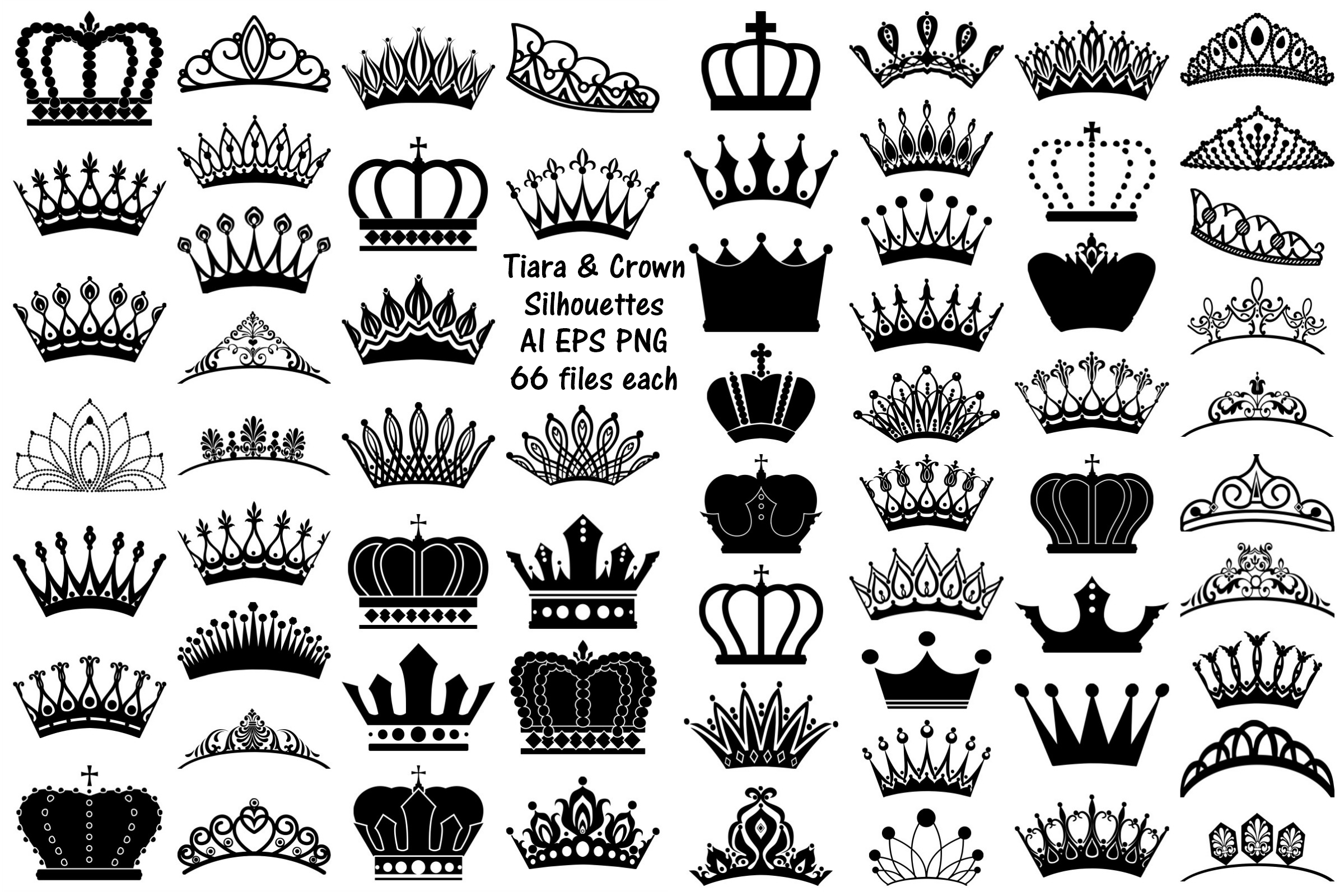 Tiara and Crown Silhouettes AI EPS PNG example image 1