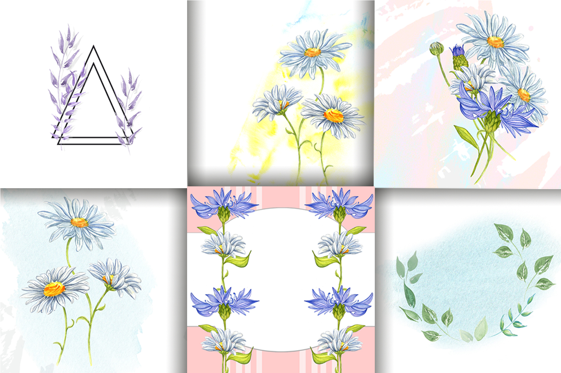 Wildflowers and herbs gentle watercolor collection example image 5