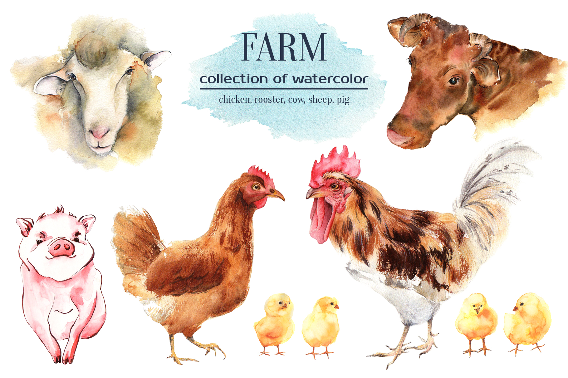 Farm animals watercolor collection example image 1